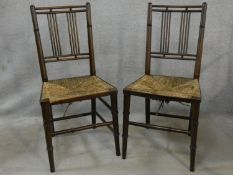 A pair of late 19th century Morris style rush seated side chairs