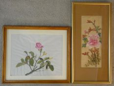 Two framed and glazed acrylic on canvas botanical studies. One Japanese silk painting of a peony,