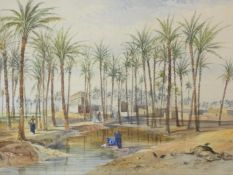 Henry Pilleau (1813-1899) A framed and glazed watercolour, Village on the Nile, signed with