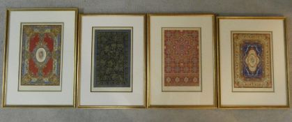 Four 19th century framed and glazed hand coloured plates of various carpet designs. Incuding