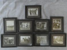 A collection of nine framed and glazed WW1 black and white photos. Depicting various wartime