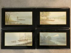 Four 19th century Japanese framed and glazed watercolours, scenes around a fishing village,