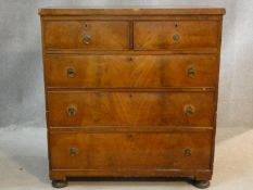 A 19th century mahogany chest of two short over three long drawers on bun feet. H.96 W.90 D.44cm