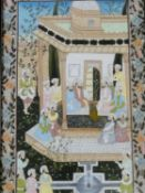 A 20th century framed and glazed Indo-Persian silk painting of a court scene. Surrounded by a floral