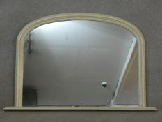 A distressed effect painted and lacquered 19th century style overmantel mirror. H.78 L.120cm