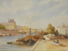 A 19th century gilt framed and glazed watercolour, busy river port with bridge and buildings in