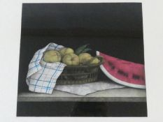 A framed and glazed signed mezzotint by Japanese artist Tomoe Yokoi, depicting a basket of pears and