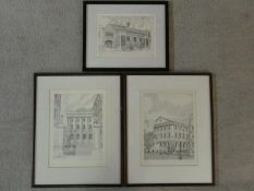 Three framed and glazed limited edition architectural prints, signed and numbered G. C. Neale. H.