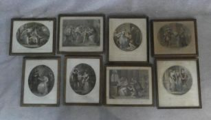 A collection of eight antique framed and glazed hand coloured engravings. Including Lady Jane