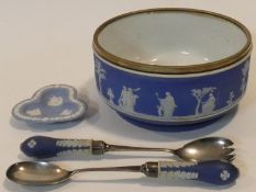 A collection of Wedgwood Jasperware items. Including an antique dark blue Jasperware silver plated