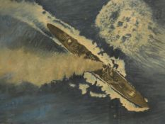 A framed and glazed watercolour, H.M.S. Gloucester 22nd May 1941, signed and dated Croasdaile. H.