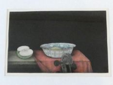 A framed and glazed signed mezzotint by Japanese artist Tomoe Yokoi, depicting a bowl, half an apple