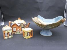 A vintage Price Brothers hand glazed three piece thatched design tea set, along with a studio