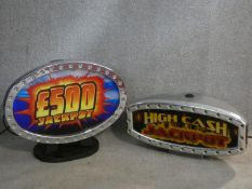Two table lamps from vintage gaming machine illuminations. H.37 W.45cm