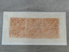 A rubbing of a Samoan tattoo design on hand made bark cloth, signed. H.55 W.106cm
