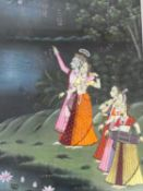 A large framed and Indo-Persian silk painting of Indian deity by a lake with Lotus flowers and