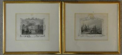 Two framed and glazed 19th centruy fine steel engravings by Tombelson, from his book 'Views of the