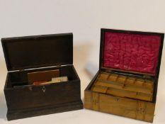 A Victorian walnut Tunbridgeware inlaid fitted jewellery box and a 19th century oak lidded box