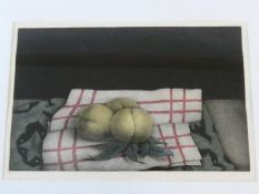 A framed and glazed signed mezzotint by Japanese artist Tomoe Yokoi, depicting peaches on a