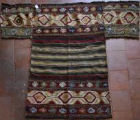 A Persian Mafrash Kilim, geometric and banded weave. L.137xW.93cm (longest 173cm)