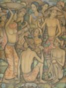 A framed acrylic on canvas attributed to Indonesian artist Made Suarsa, titled Mol Mahendra and