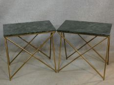 A pair of veined marble topped occasional tables on gilt metal bases. H.57 L.57 W.37cm