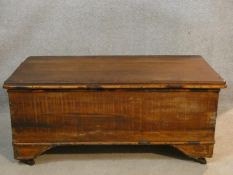 A 19th century pine trunk with hinged lidded top and iron carrying handles on shaped and moulded