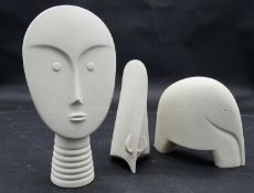A collection of three mid century Lineasette Italian ceramic figures, head, buffalo and an elephant.