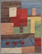 A Kilim of abstract polychrome geometric design. L.299xW.236cm