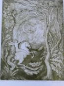 A framed and glazed limited signed etching by American artist Aimee Birnbaum, titled 'Ill met by