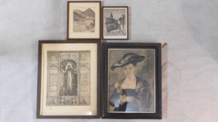 Four various framed and glazed antique prints. Three are engravings H.49 W.61cm