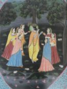 A framed and glazed 20th century Indo-Persian silk painting depicting a chapter from Gita Govinda.