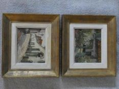 Two framed oils on board by Alexandre Tielens (1868-1959). One of cottage with a garden and the