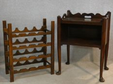 A Georgian style mahogany night table and a floor standing wine rack. H.77 L.56 W.41cm