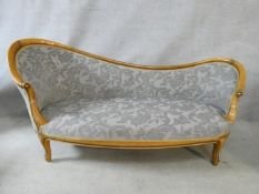 A 19th century beech framed chaise in cut floral velour upholstery on carved cabriole supports. H.80