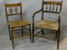 A 19th century elm country armchair with rush seat on faux bamboo supports and a similar side