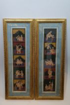 A pair of framed and glazed Indian paintings depicting various positions from the Kama Sutra. H.