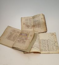 A set of three 18th century hand written Magrabi handwriting books. H.24.5x18cm
