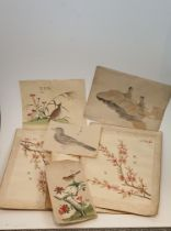 A collection of seven antique Chinese and Japanese ink paintings on paper. One of a quail, one of