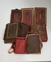 A collection of 19th century leather gilded and tooled Islamic book covers, some with protective