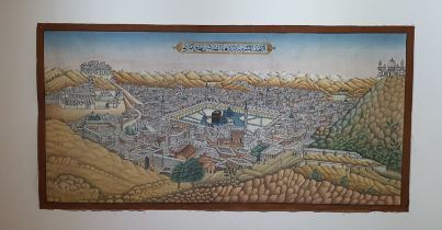 A 19th century finely painted unusual bird's-eye view of the Qa'ba and the city of Mecca on
