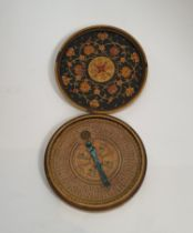 An Indo-Persian Islamic paper mache cased astrolabe. The lid of the case is intricately hand painted