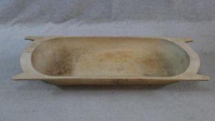 An antique sycamore bread proving trough. H.18 L.115 W.43cm