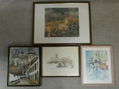 Four miscellaneous framed and glazed prints to include Monet's Le Jardin de Giveny. H.64 W.84cm