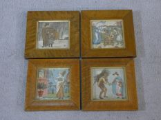 A set of four 19th century maple framed and glazed Walter Crane coloured illustration lithographic