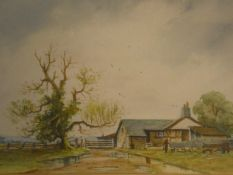 J Bradley Carter (British, 20th century) a framed and glazed watercolour, rural cottage, signed