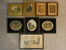 A collection of eight 19th century and later framed and glazed prints, various subjects. H.26 W.42cm