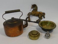 A miscellaneous collection of five items of 19th century and later kitchenalia to include; copper
