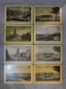 A set of eight place mats with copies of antique coloured lithographic prints with various views