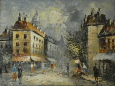 Burnett (French Contemporary), Parisian street scene, framed oil on board signed. H.35 W.45cm